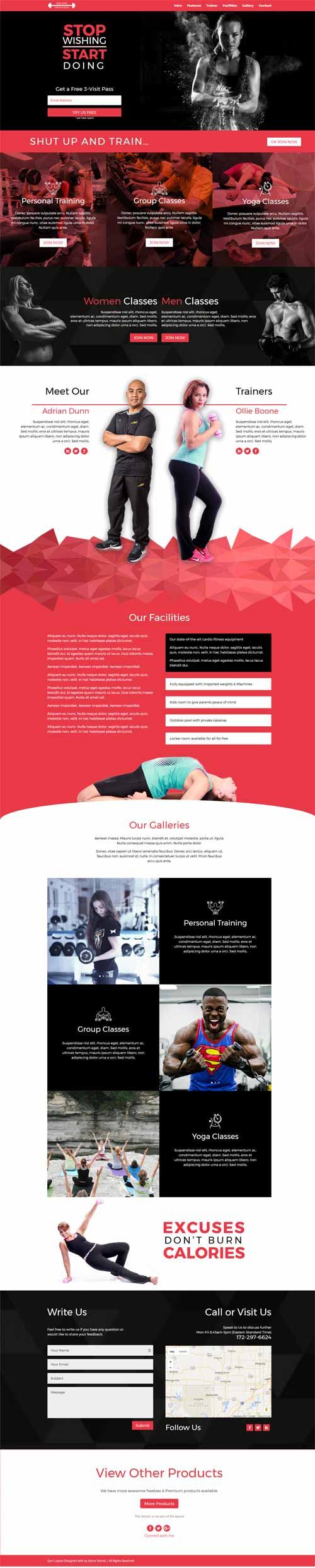 1 page fitness layout for divi