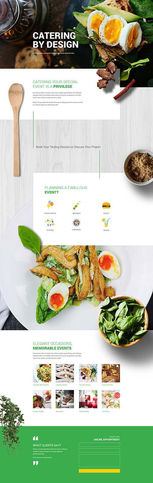 Divi layout for catering business