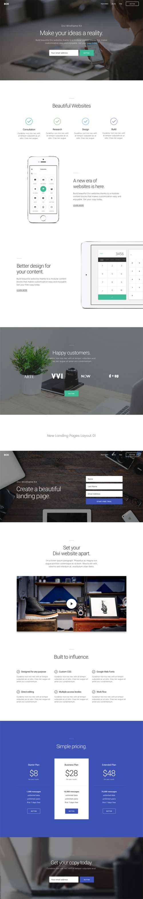 divi landing layouts elegant themes