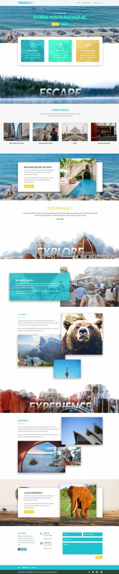 Divi layout for travel business