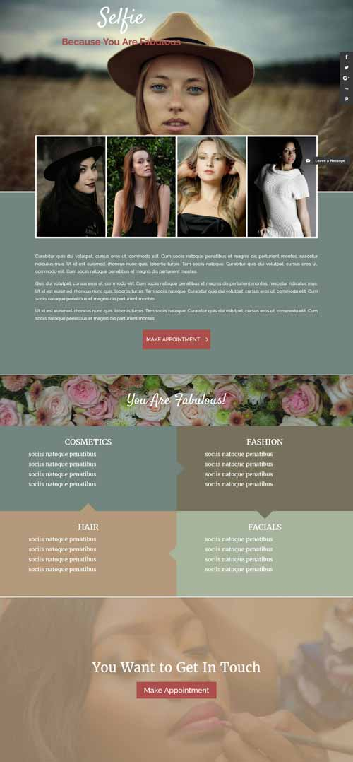 Selfie 1 page layout for Divi