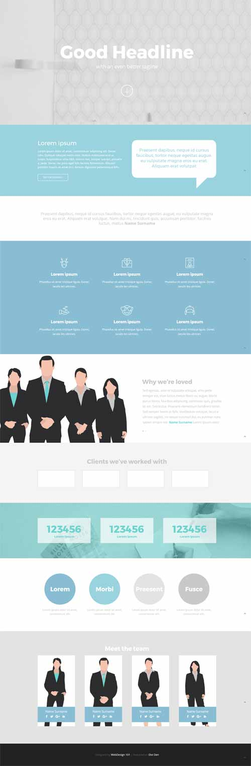 agency 1 page divi layout