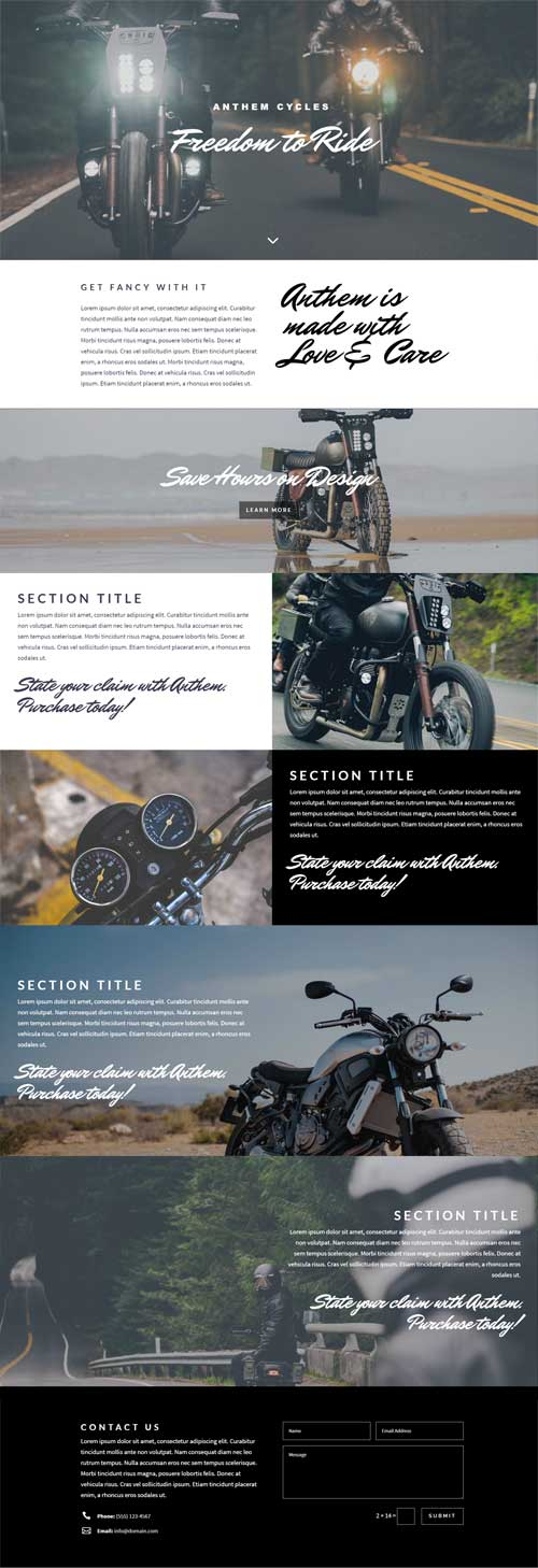 anthem-cycles-divi-layout