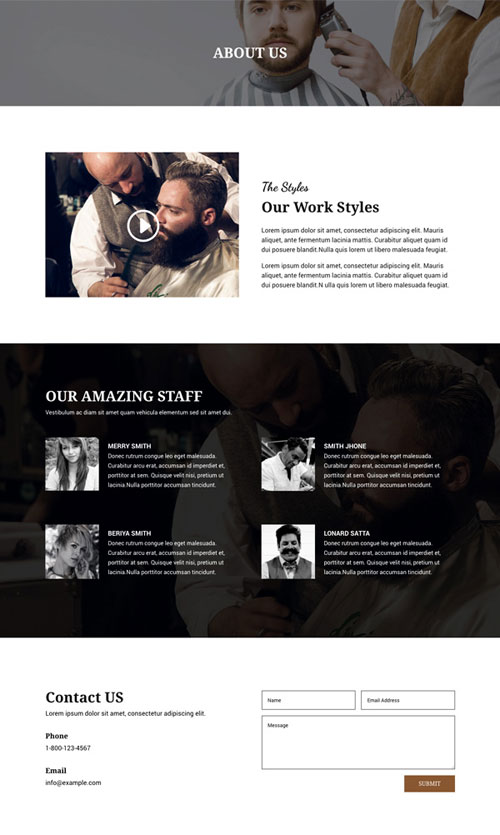 divi layout barbers about page