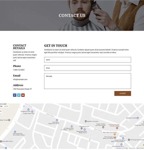 divi layout barbers contact page
