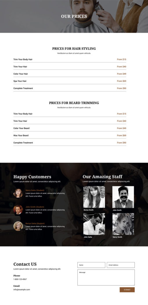 divi layout for barbers service prices