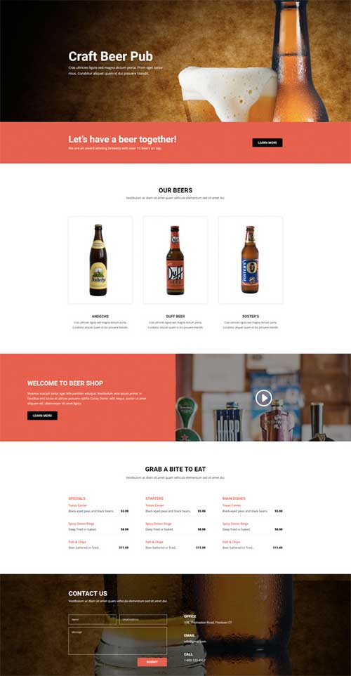 brewery layout for Divi Theme