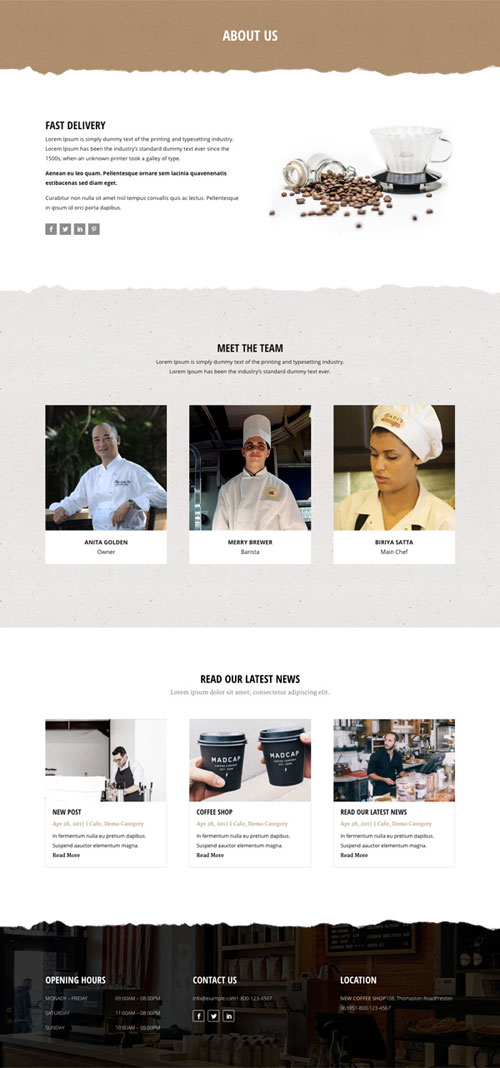 Divi layout cafe about