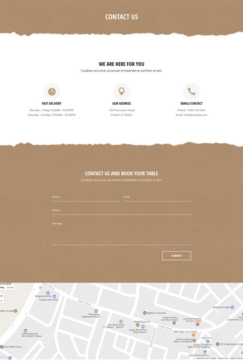 Divi layout cafe contact