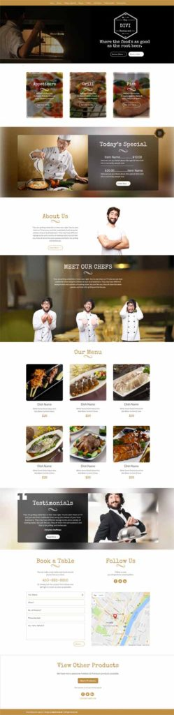 Restaurant cafe page layout divi theme layouts