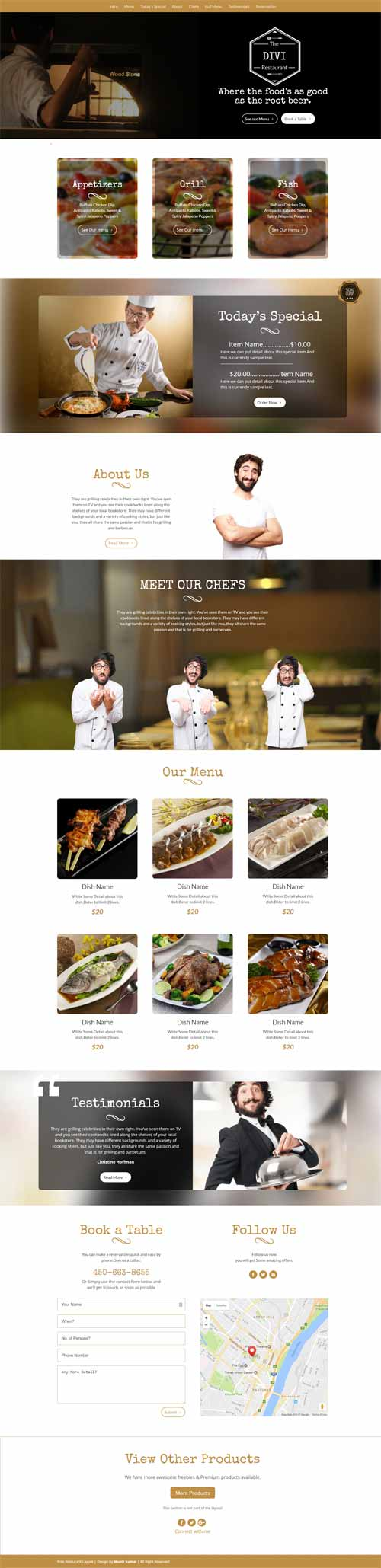 cakewp restaurant layout for divi