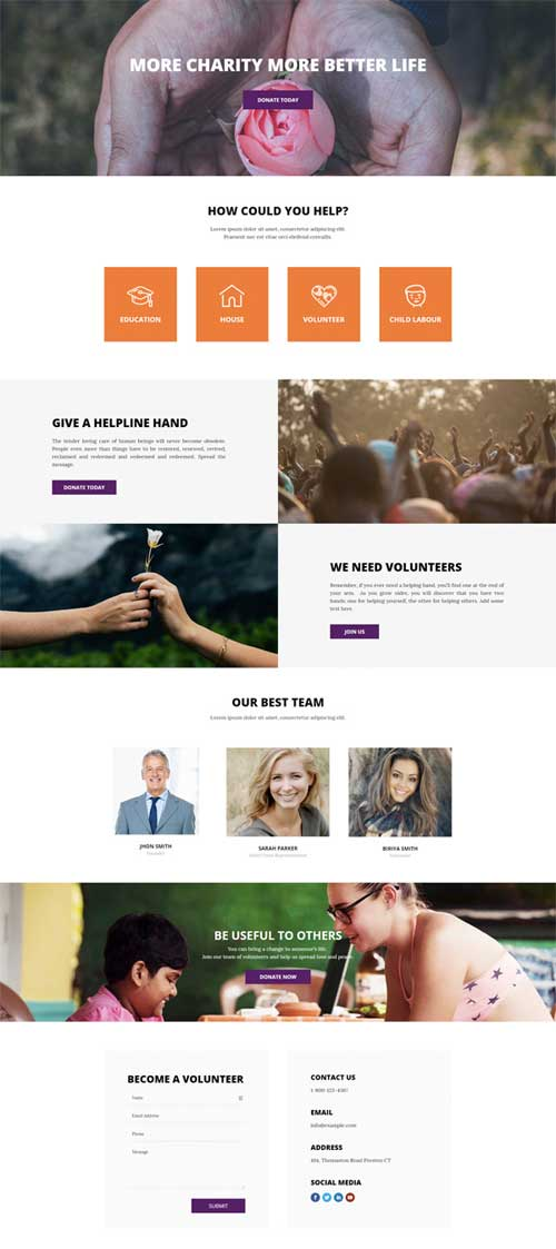 divi theme layout for charities
