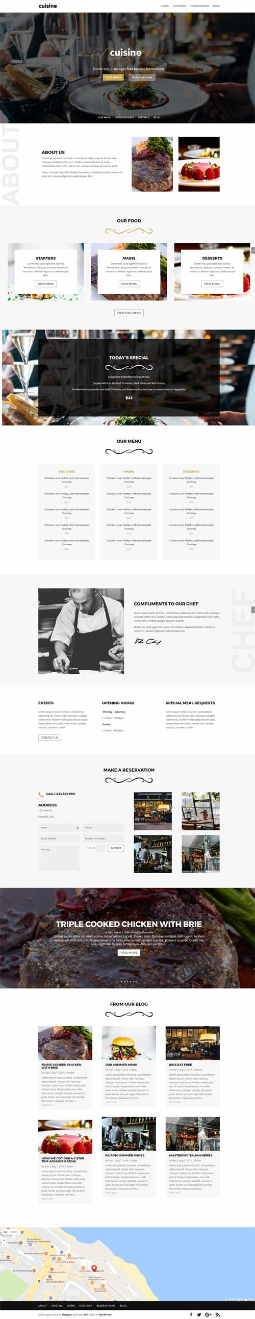 Cuisine page restaurant layout divi theme layouts