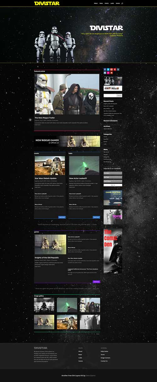 divi blog page layout