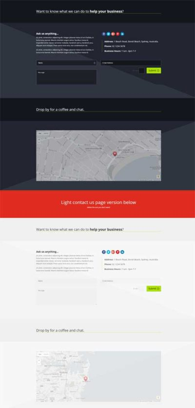divi contact page layout