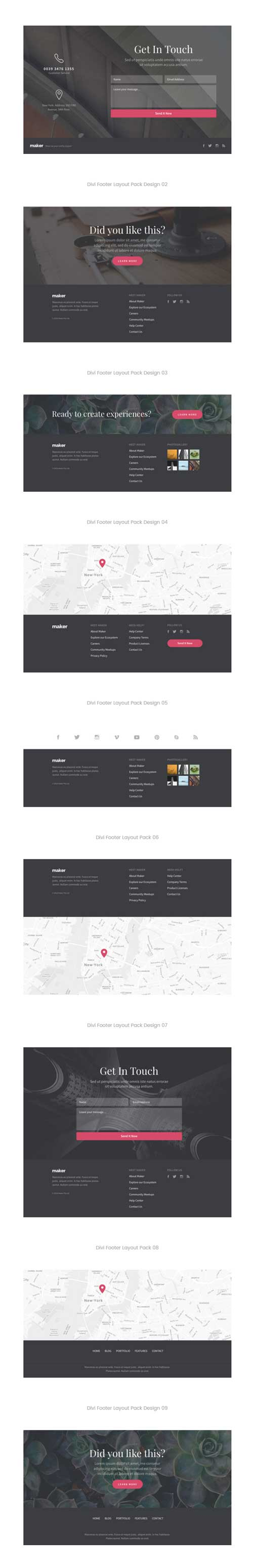 View all Divi footer layouts • Divi Theme Layouts