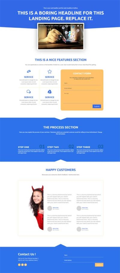 divi landing page layout blue