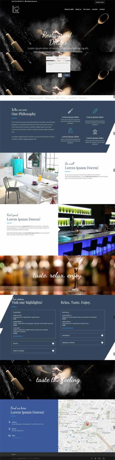 divi layout for 1 page restaurant