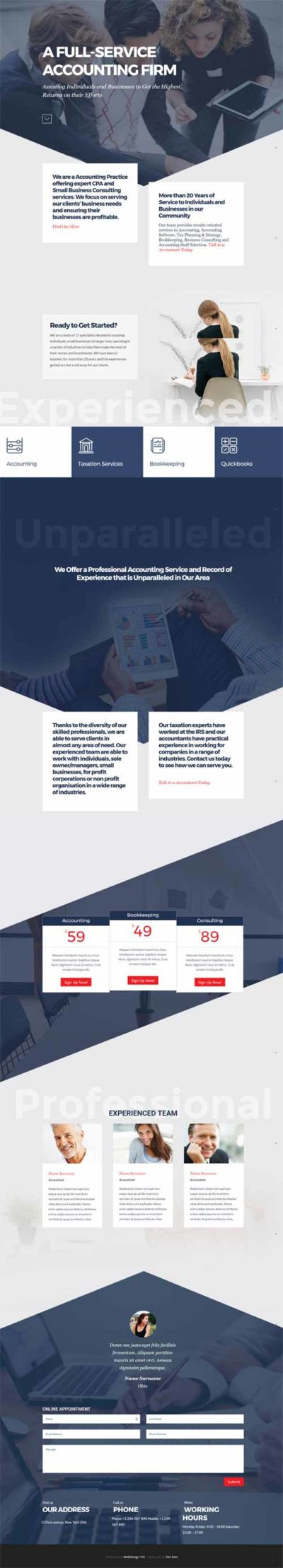 divi layout for accountantat