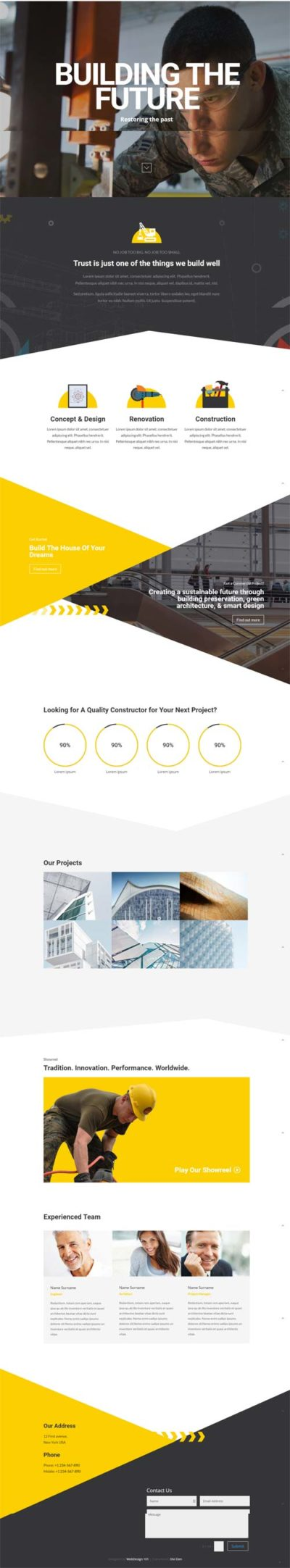 divi layout for builder construction