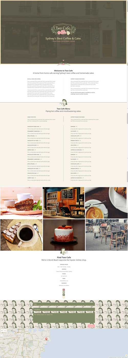 Cafe page layout divi theme layouts