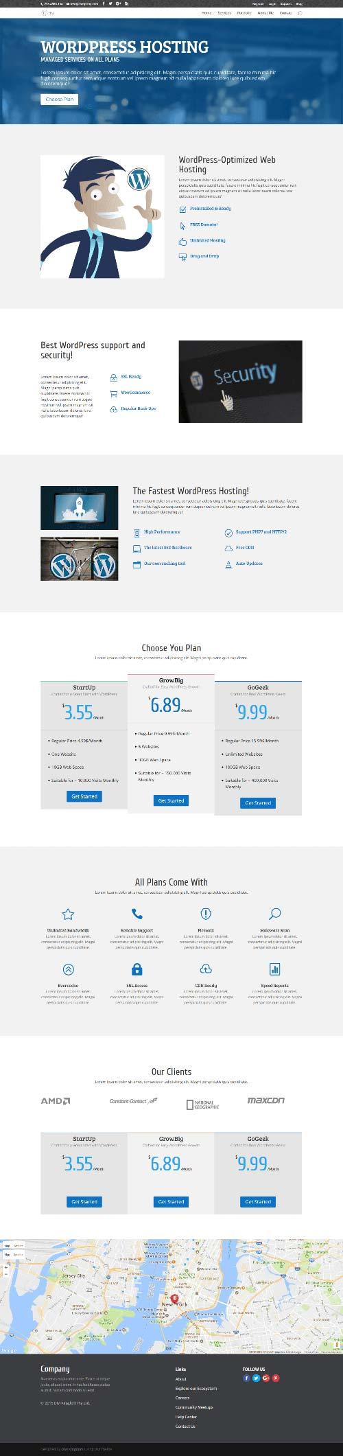divi layout for hosting business