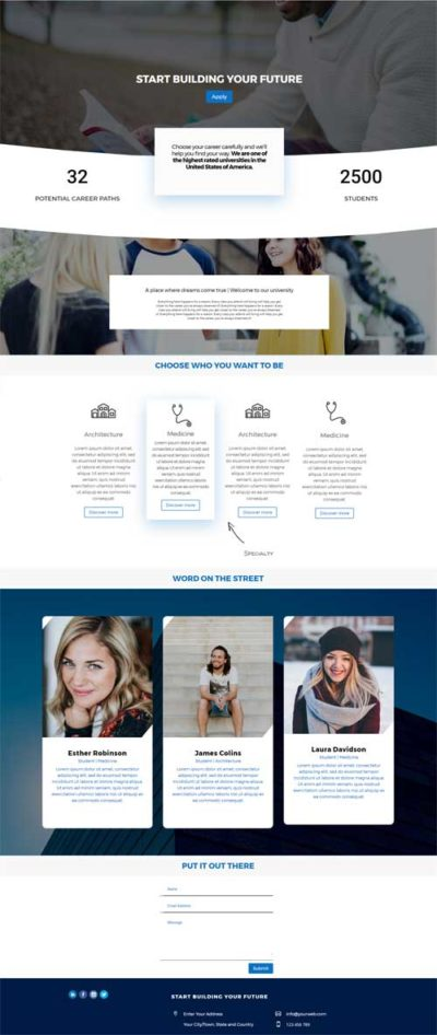 divi layout for school college uni