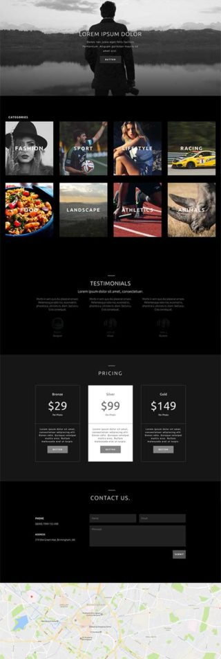 divi photography home layout
