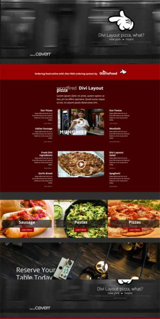 Divi food layouts on theme