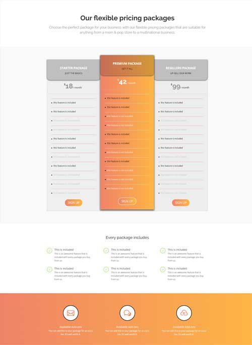 divi pricing page layout