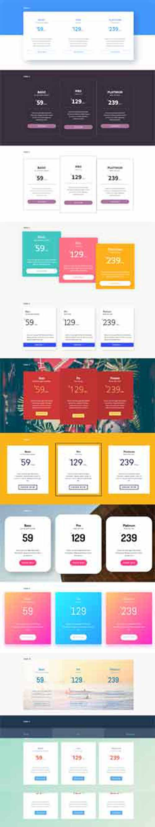 divi pricing table layout pack