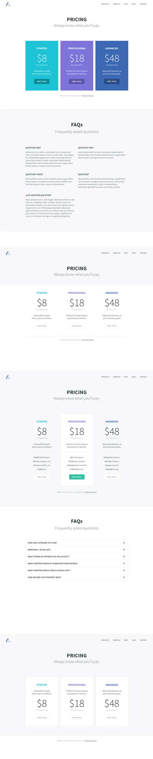 divi pricing tables layout