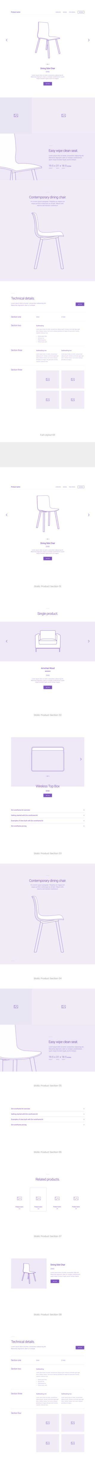 Divi product wireframe layout kit
