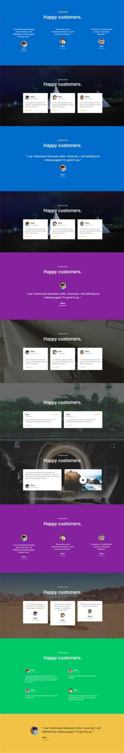 divi testimonial layout pack