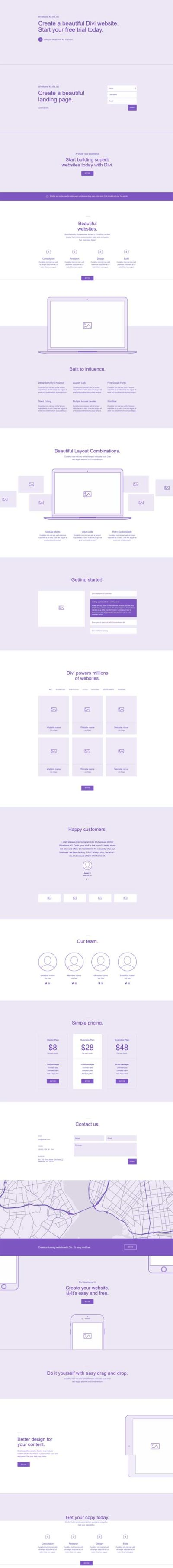 divi wireframe layout vol 2