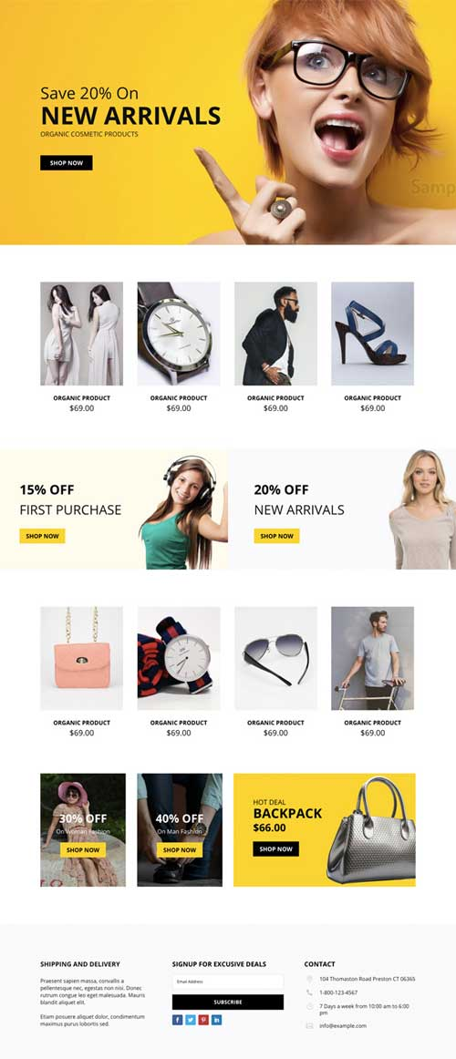 divi layout for ecommerce shop page