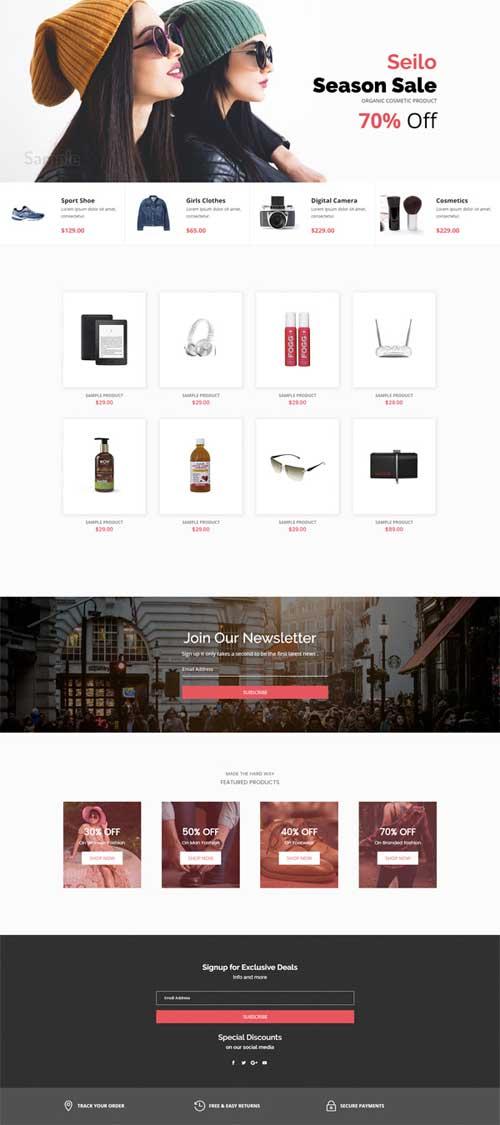 divi ecommerce shop layout