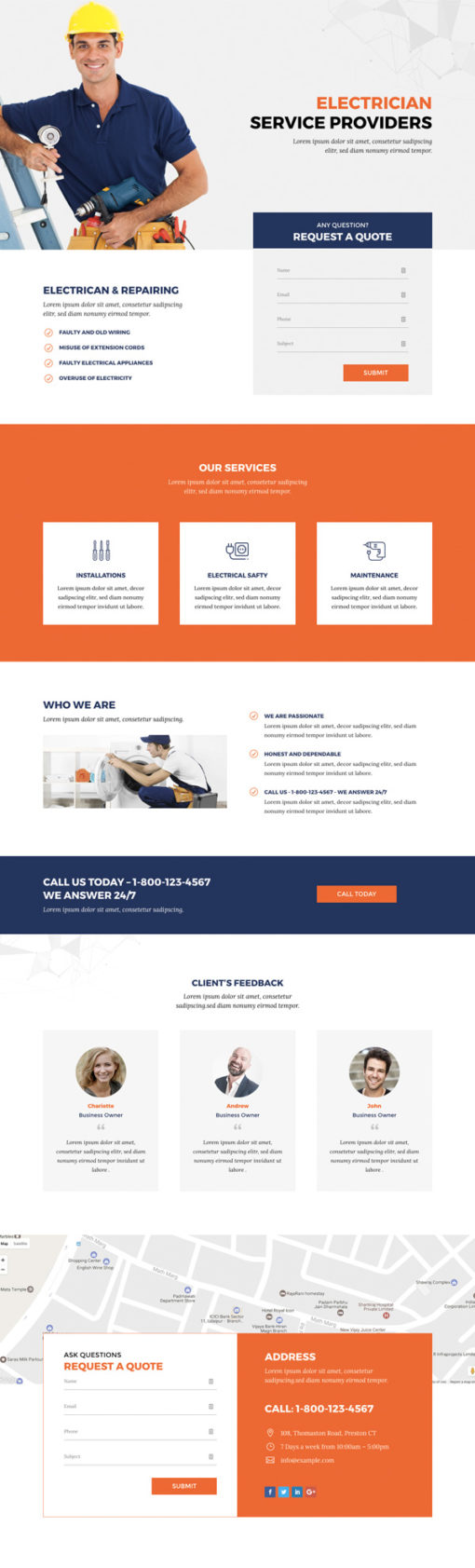 Divi Theme layout for electrician