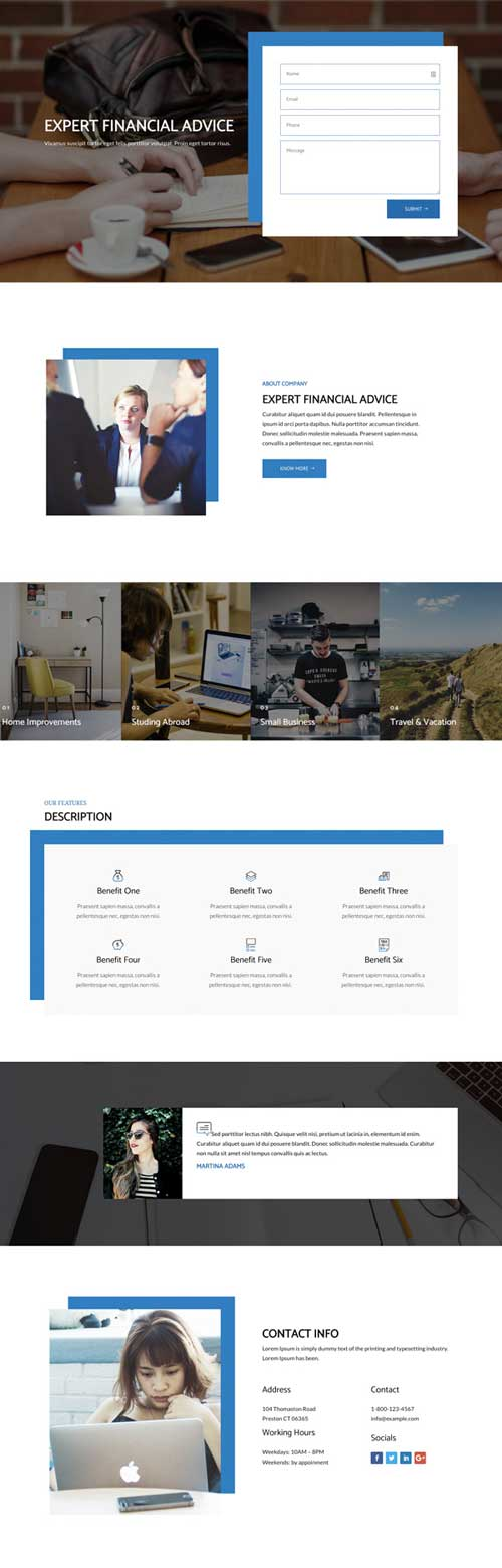 divi layout for finance site