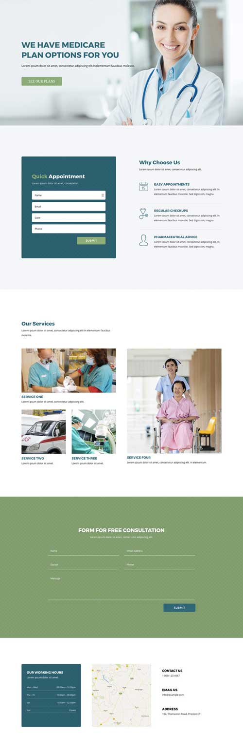 Divi layout for health clinic