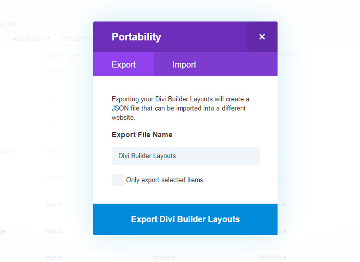 import-export divi layouts