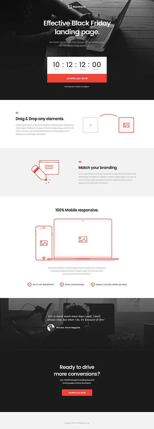 landing page layout for divi