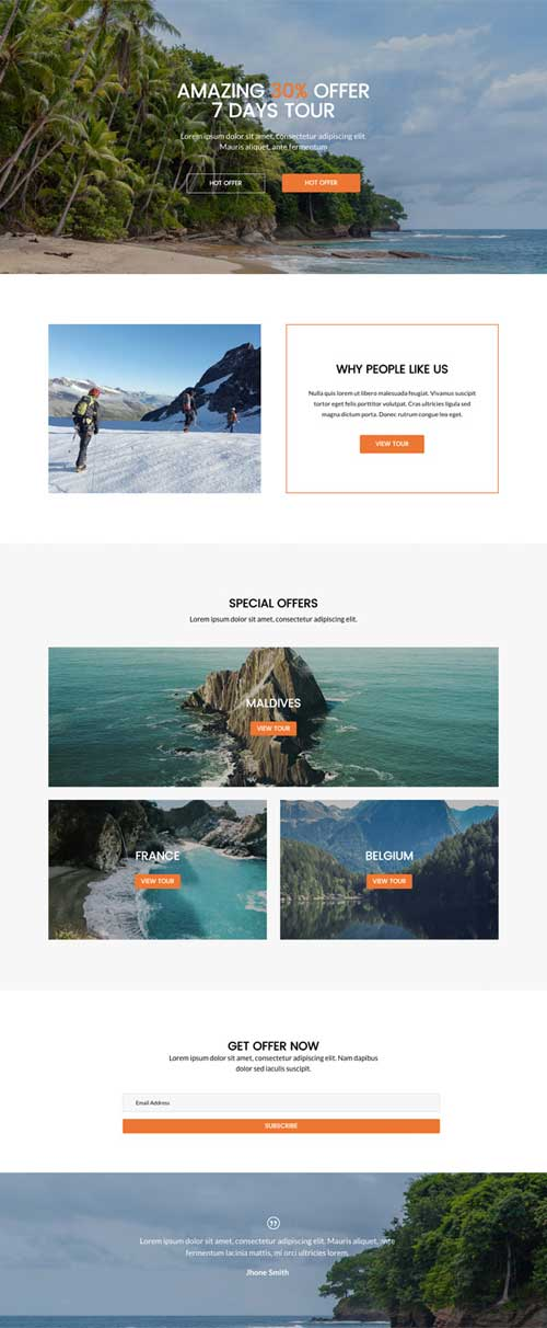 divi layout for landing page