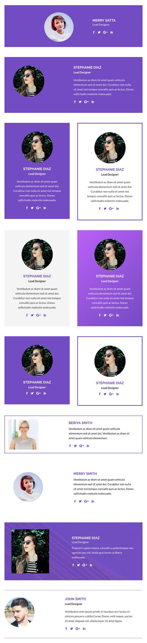 divi person module layouts