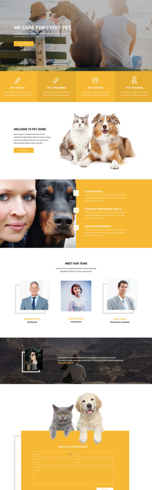 Divi layout for pet care dogs