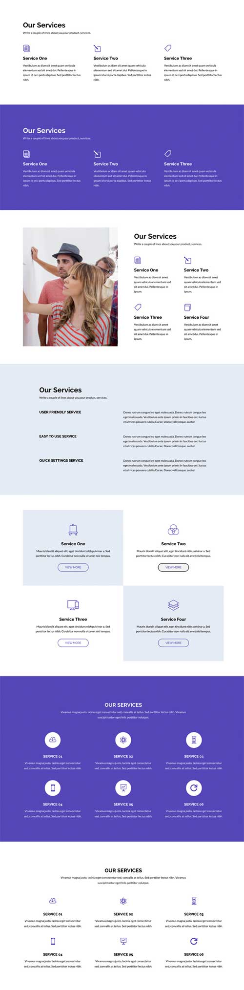 Divi layout for our services