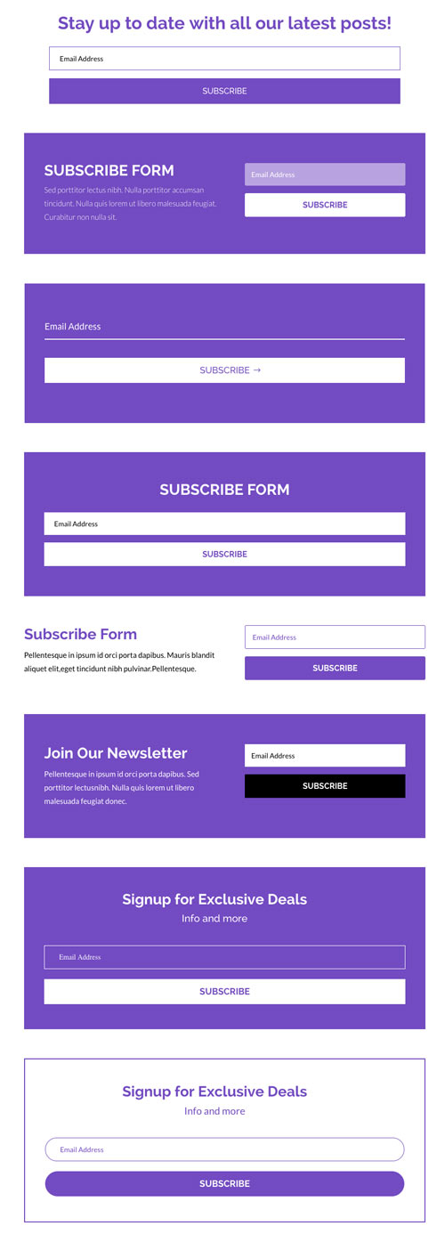 divi subscribe modle layout