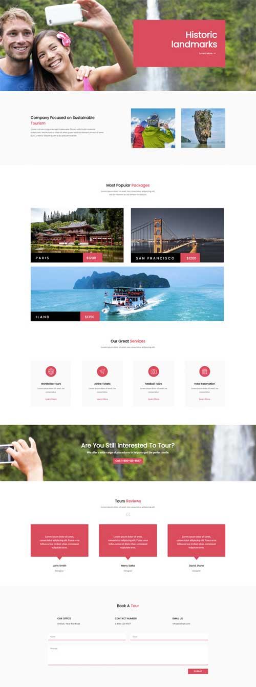 divi website for travel and tourism