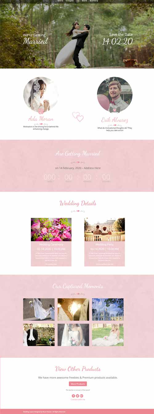 wedding layout for Divi Theme