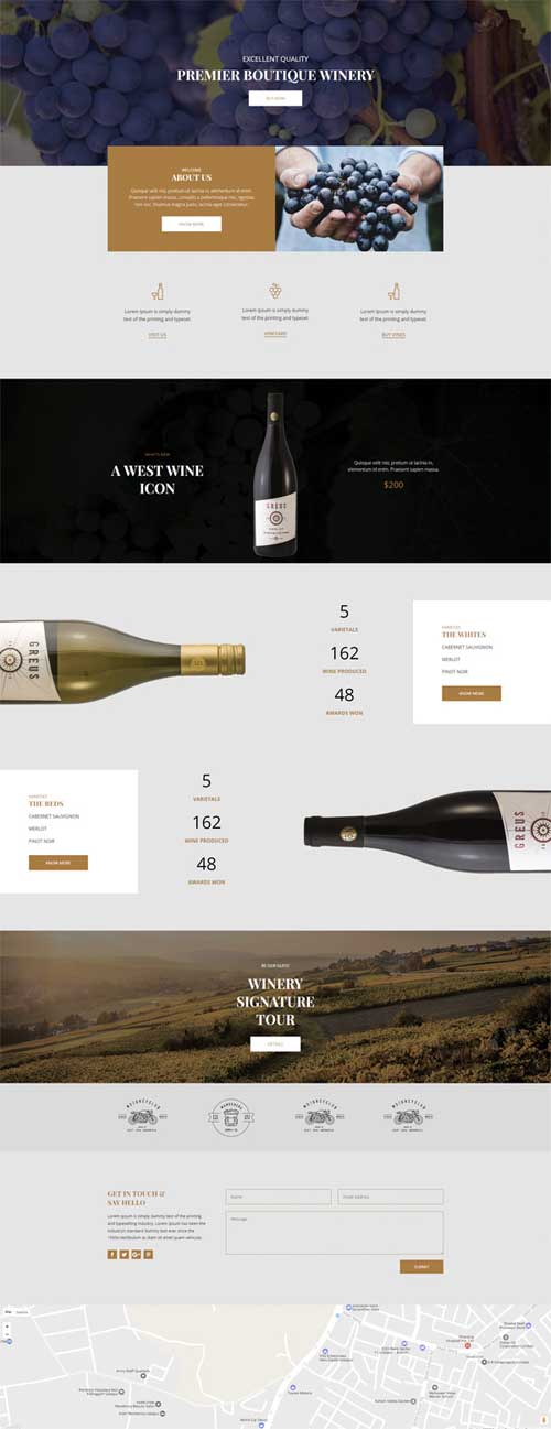 divi layout for winery